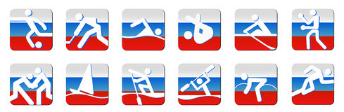 Sportsymboler som är vita på flagga Arkivfoton