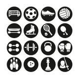 Sportsymboler uppsättning, illustration Sportutrustning stock illustrationer