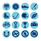 Sportsymboler uppsättning, illustration Sportutrustning Royaltyfri Illustrationer