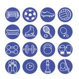 Sportsymboler uppsättning, illustration Sportutrustning vektor illustrationer