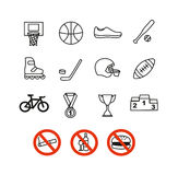 Sportsymboler uppsättning, vektorillustration Sportutrustning stock illustrationer