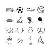 Sportsymboler uppsättning, vektorillustration Sportutrustning royaltyfri illustrationer
