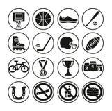 Sportsymboler uppsättning, vektorillustration Sportutrustning vektor illustrationer