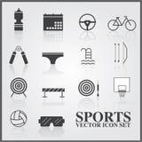 Sportsymbolsuppsättning på grå färger Arkivfoton