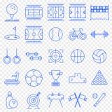 Sportsymbolsuppsättning 25 vektorsymboler packar vektor illustrationer