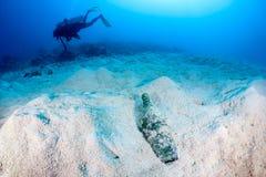 Sporttauchenschwimmen nahe bei einer weggeworfenen Flasche Lizenzfreie Stockfotos