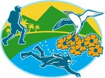 Sporttaucher Hiker Island Tropicbird blüht Retro- Stockbild
