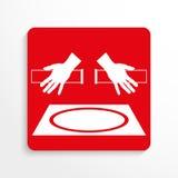 Sporttekens Vrij slag het worstelen Het pictogram van toestellen Rood en wit beeld op een lichte achtergrond met een schaduw royalty-vrije illustratie