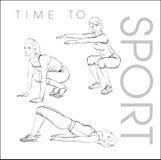 sporttid till En ung idrottsman nen utför övningar Arkivbild