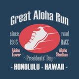 Sporttypografi, stora Aloha Run Presidenters dag Royaltyfria Bilder