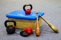 Sportuitrusting die - opleiden - Gymnastiek royalty-vrije stock foto
