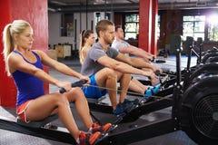 Sportunterricht, der zusammen auf Rudermaschinen ausarbeitet Lizenzfreie Stockfotos