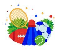 Sportutrustning: fotboll- och tennisbollar, badmintonracket och fjäderboll vektor illustrationer