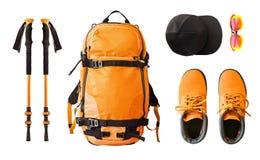 Sportutrustning och kläder för att fotvandra och trekking royaltyfri foto