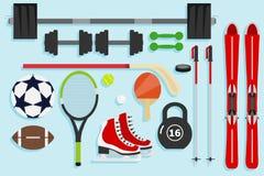 Sportutrustning, sportobjekt Ämnen för sport vektor illustrationer