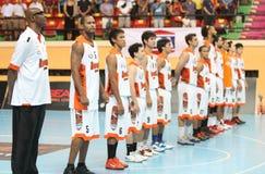Sportvarven Thailand Slammers deltar i en ASEAN-basketliga  Royaltyfri Fotografi
