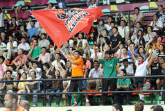 SportvarvThailand Slammers fan i en ASEAN-basketliga  Arkivfoton
