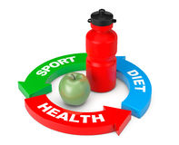 Sportvattenflaska med gröna Apple i pilhälsodiagram 3d Royaltyfria Bilder