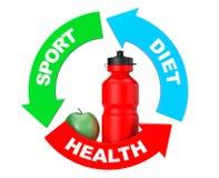 Sportvattenflaska med gröna Apple i pilhälsodiagram 3d Arkivfoton