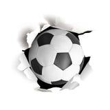 Sportvektorillustartion med fotbollbollen som är kommande ut från papper Royaltyfria Foton