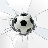 Sportvektorillustration med fotbollbollen som kommer i sprucket exponeringsglas Royaltyfri Fotografi