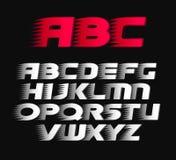 Sportvektorstilsort Alfabetet satte en klocka på symboler för bokstäver för kursiv vita och röda, royaltyfri illustrationer