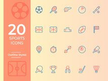 Sportvektorsymbol, sportsymbol översiktsvektorsymboler för webbplats eller mobil app vektor illustrationer