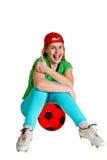 Sportvrouw met balkl Stock Afbeeldingen