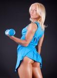 Sportvrouw met ezel Royalty-vrije Stock Foto's