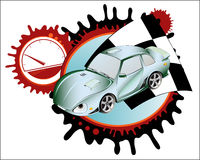 Sportwagen. Collage. Vektorabbildung Stockfoto