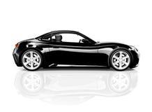 Sportwagen des Schwarz-3D auf weißem Hintergrund Lizenzfreies Stockfoto
