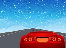 Sportwagen op de weg Stock Afbeeldingen