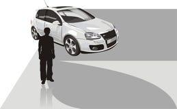 Sportwagen und Schattenbild des Mannes Lizenzfreie Stockfotografie