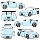 Sportwagenansichten und -winkel lizenzfreie abbildung