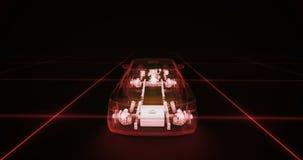 Sportwagendrahtmodell mit rotem Neon-ob Schwarzhintergrund Stockbild