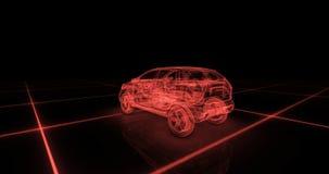 Sportwagendrahtmodell mit rotem Neon-ob Schwarzhintergrund Stockfotografie
