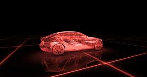 Sportwagendrahtmodell mit rotem Neon-ob Schwarzhintergrund Stockfotos