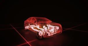 Sportwagendrahtmodell mit rotem Neon-ob Schwarzhintergrund Lizenzfreies Stockfoto