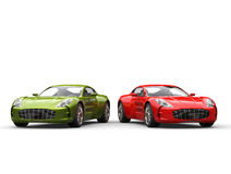 Sportwagens - metaal groen en rood Royalty-vrije Stock Foto