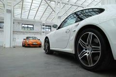 Sportwagens. Porsche 911 GT3 RS, 911 Turbo Stock Afbeelding
