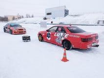Sportwagens voor de concurrentie het Afdrijven Stock Fotografie