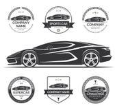 Sportwagensilhouet met de reeks etiketten, emblemen, logotypes Stock Foto's