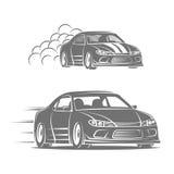 Sportwagenvektor-Logodesign Straßenlaufen Stockfotos