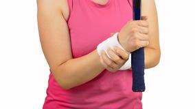 Sportwoman di tennis con dolore del polso fotografie stock libere da diritti