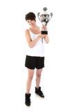 Sportwoman has won a big trophy Stock Photography