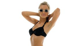Sportwoman in swimsuit with swimming goggles Royalty Free Stock Image