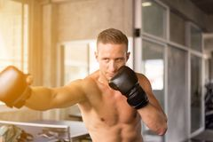 Sporty позиция боксера человека и пробивать на кладя в коробку спортзале, мужском глазе боксера смотря тренирующ на груше стоковое изображение