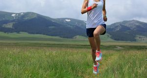 Sporty бегун следа женщины бежать на злаковике Стоковое фото RF
