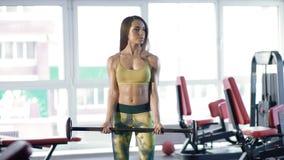 Sporty девушка стоя с тренировкой штанги Стоковое Изображение RF