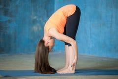Sporty красивая молодая женщина делая представление Uttanasana Стоковая Фотография RF